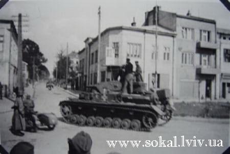 м.Сокаль, Німецькі війська в Сокаліповорот на вул. Тартаківська