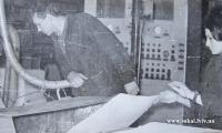 Відділ мерсеризації. Перший лист целюлози закинутий в транспортер Липень 1970 р.